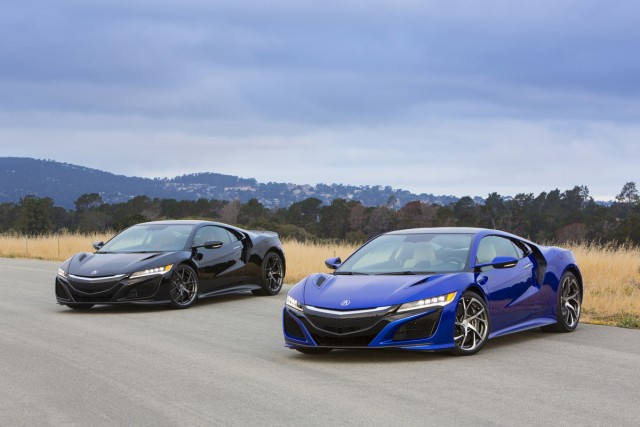 New Acura NSXs in Berlina Black and Nouvelle Blue