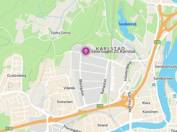 Karta för att hitta oss, klicka för att öppna större karta i nytt fönster